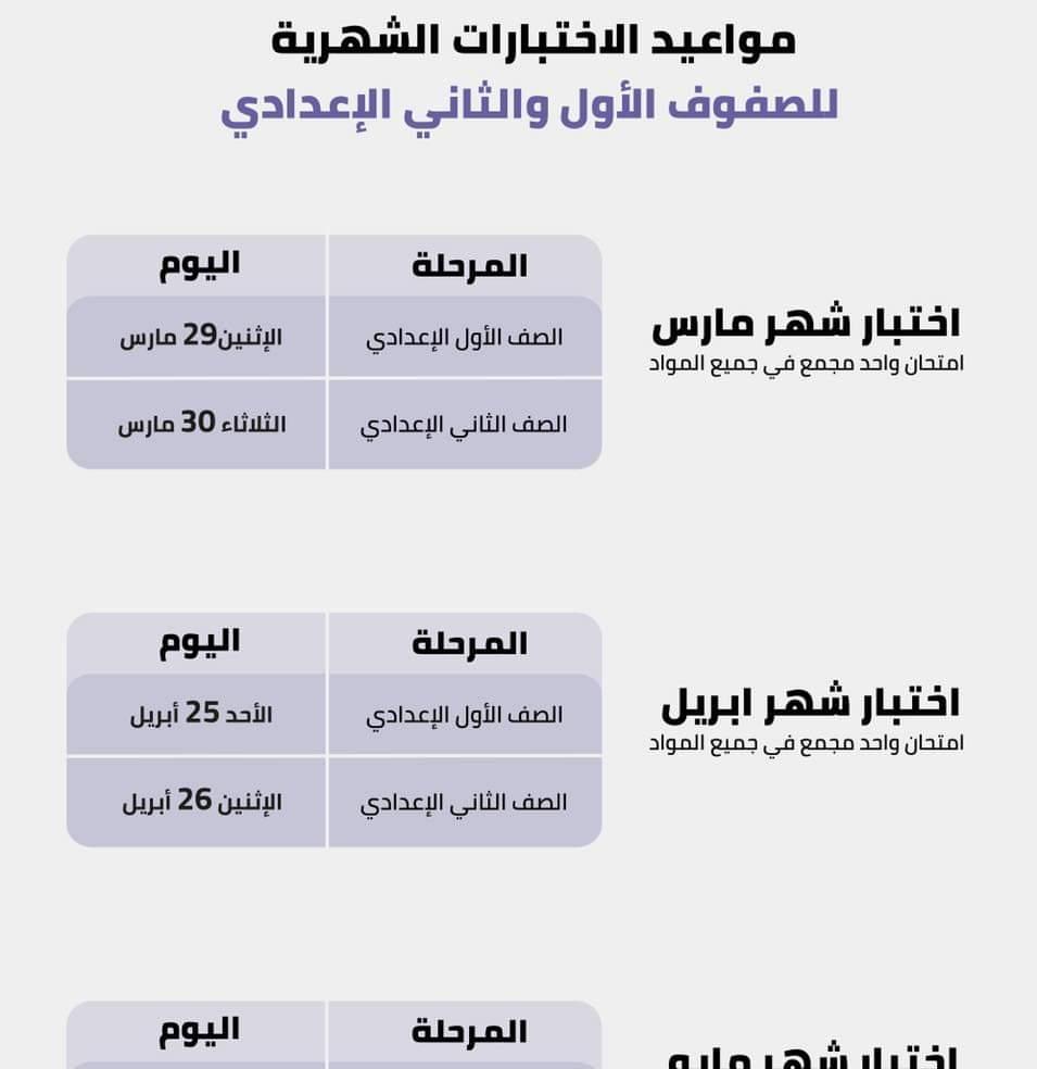 قرار وزارة التربية والتعليم المصري بشأن امتحانات المرحلة الابتدائية والإعدادية
